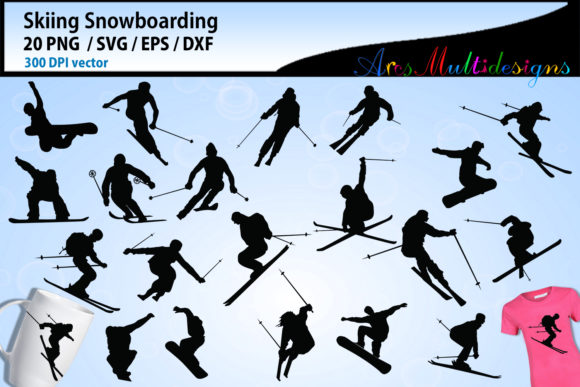 Print on Demand: Skiing Silhouette Vector Graphic Crafts By Arcs Multidesigns - Image 1