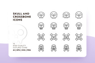 Skull and Cross Bone Outline Icon Pack Graphic By Goodware.Std