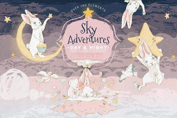Download Free Sky Adventures Graphic By Anna Babich Creative Fabrica for Cricut Explore, Silhouette and other cutting machines.