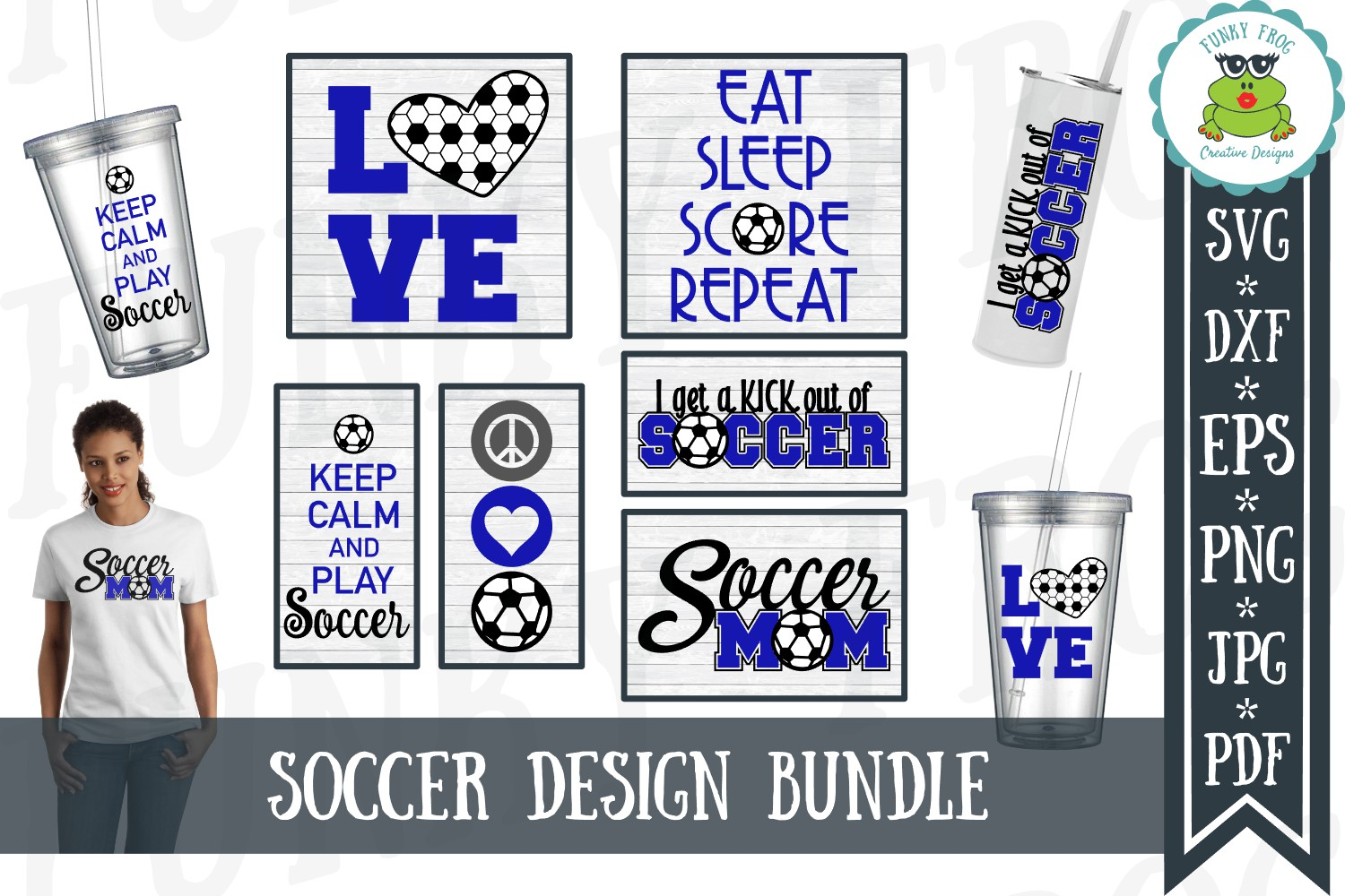 Download Free Soccer Design Bundle Graphic By Funkyfrogcreativedesigns for Cricut Explore, Silhouette and other cutting machines.