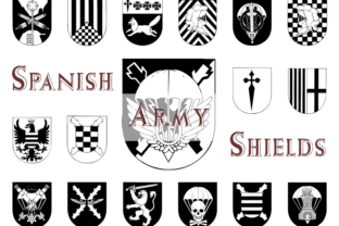 Print on Demand: Spanish Army Shields Dingbats Font By Intellecta Design