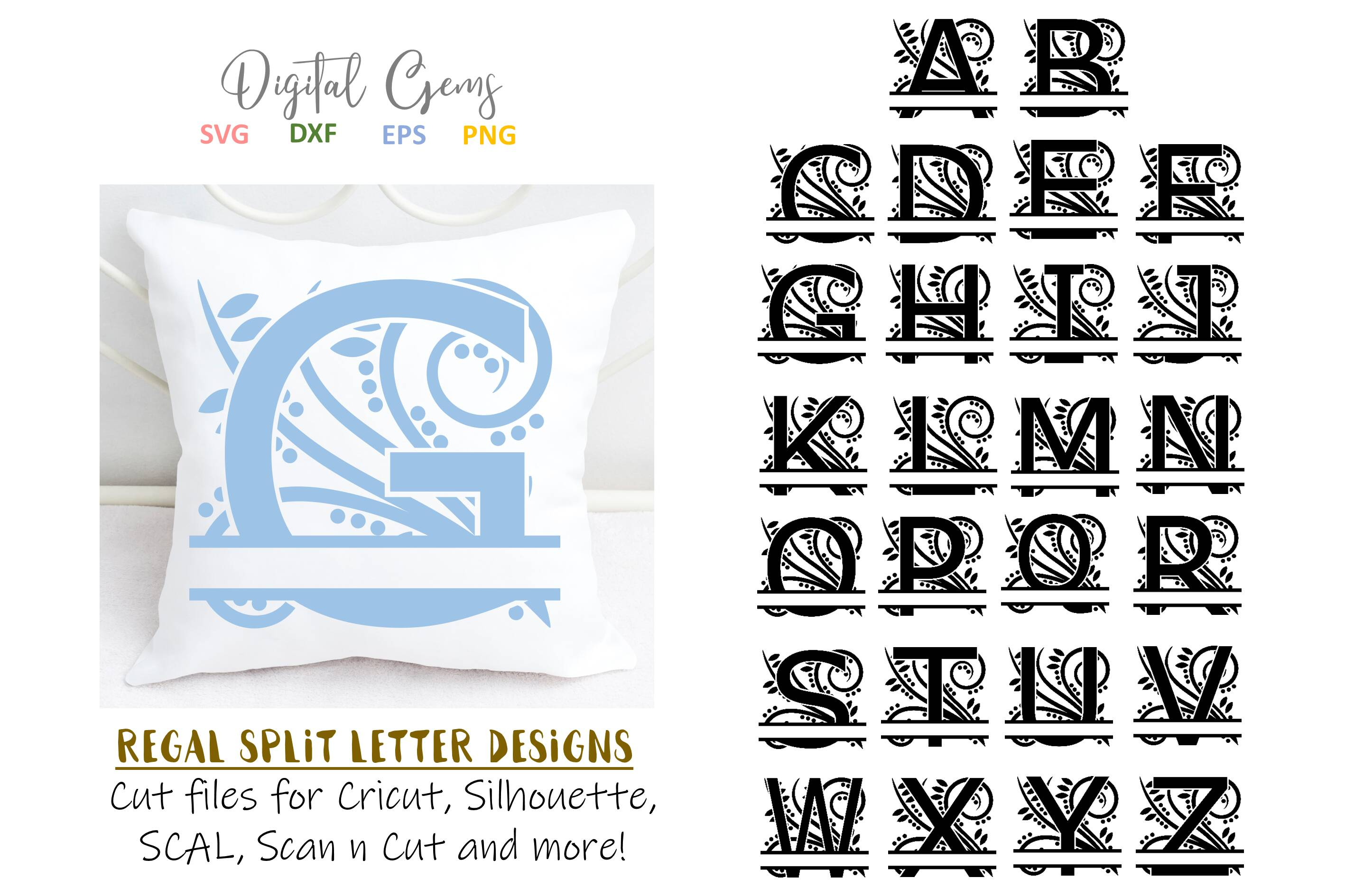 Download Free Split Alphabet Letter Designs Graphic By Digital Gems Creative for Cricut Explore, Silhouette and other cutting machines.