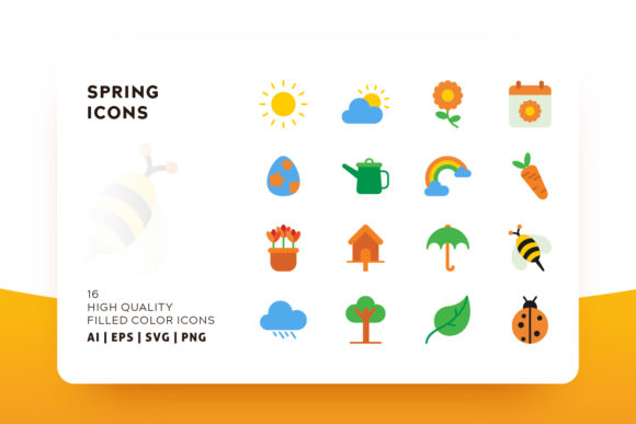 Print on Demand: Spring Flat Color Icon Pack Graphic Icons By Goodware.Std