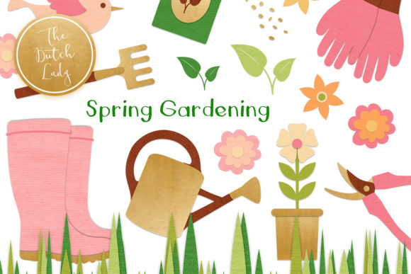 Print on Demand: Spring Gardening Tools Clipart Set Graphic Illustrations By daphnepopuliers