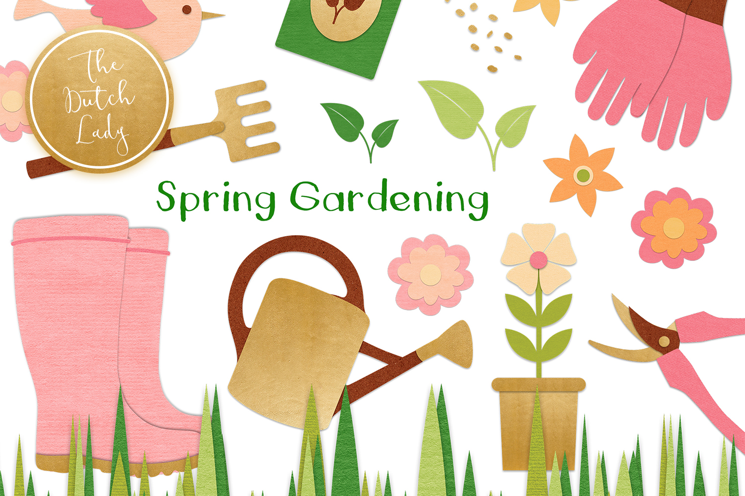 Download Free Spring Gardening Tools Clipart Set Graphic By Daphnepopuliers for Cricut Explore, Silhouette and other cutting machines.