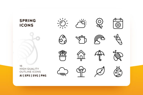 Download Free Spring Outline Icon Pack Graphic By Goodware Std Creative Fabrica for Cricut Explore, Silhouette and other cutting machines.
