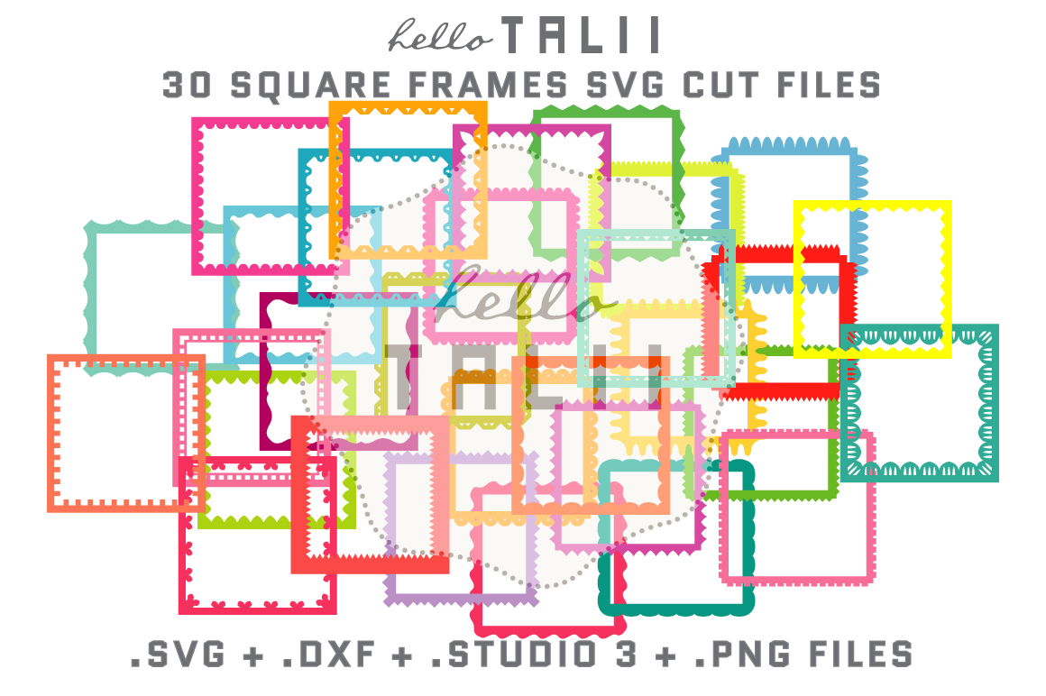 Download Free Square Frames Bundle Graphic By Hello Talii Creative Fabrica for Cricut Explore, Silhouette and other cutting machines.