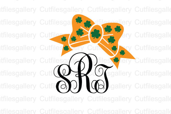 Download Free St Patrick Bow Monogram Svg Graphic By Cutfilesgallery for Cricut Explore, Silhouette and other cutting machines.
