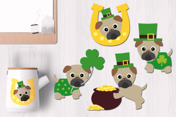 Print on Demand: St Patrick's Day Irish Pugs Gráfico Ilustraciones Por Revidevi