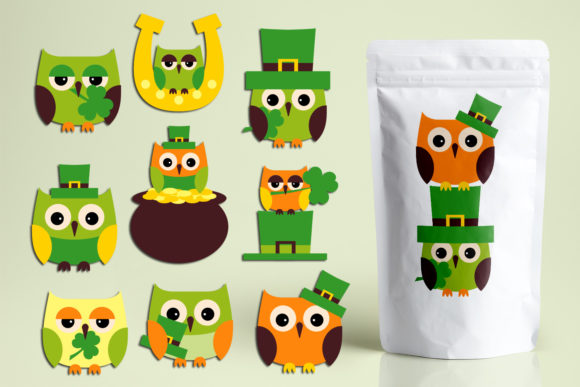 Print on Demand: St. Patrick's Day Owls Graphic Illustrations By Revidevi