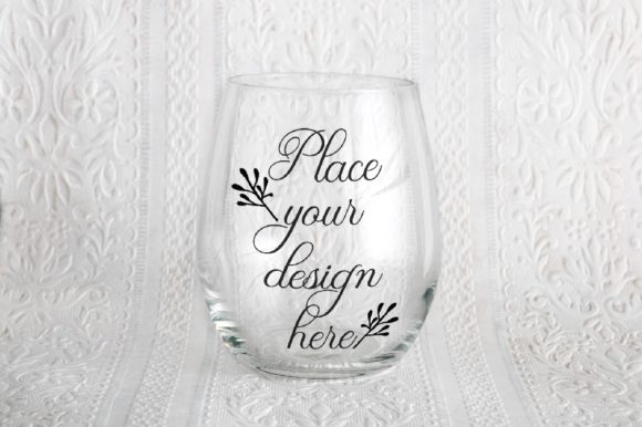 Print on Demand: Stemless Wine Clear Glass Mock Up Graphic Product Mockups By Leo Flo Mockups