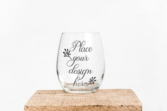Print on Demand: Stemless Wine Clear Glass Mockup Graphic Product Mockups By Leo Flo Mockups