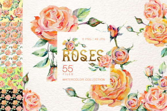 Download Free Stylish Watercolor Roses Set Graphic By Mystocks Creative Fabrica for Cricut Explore, Silhouette and other cutting machines.