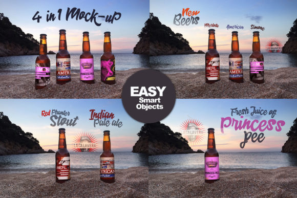 Download Free Sunset Beach 4 In 1 Beer Mockup Graphic By Smartdesigns for Cricut Explore, Silhouette and other cutting machines.