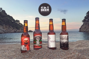 Print on Demand: Sunset Beach 4 in 1 | Beer Mockup Graphic Product Mockups By SmartDesigns