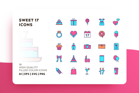 Sweet 17 Filled Color Icon Pack Graphic By Goodware.Std