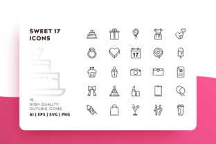 Sweet 17 Outline Icon Pack Graphic By Goodware.Std