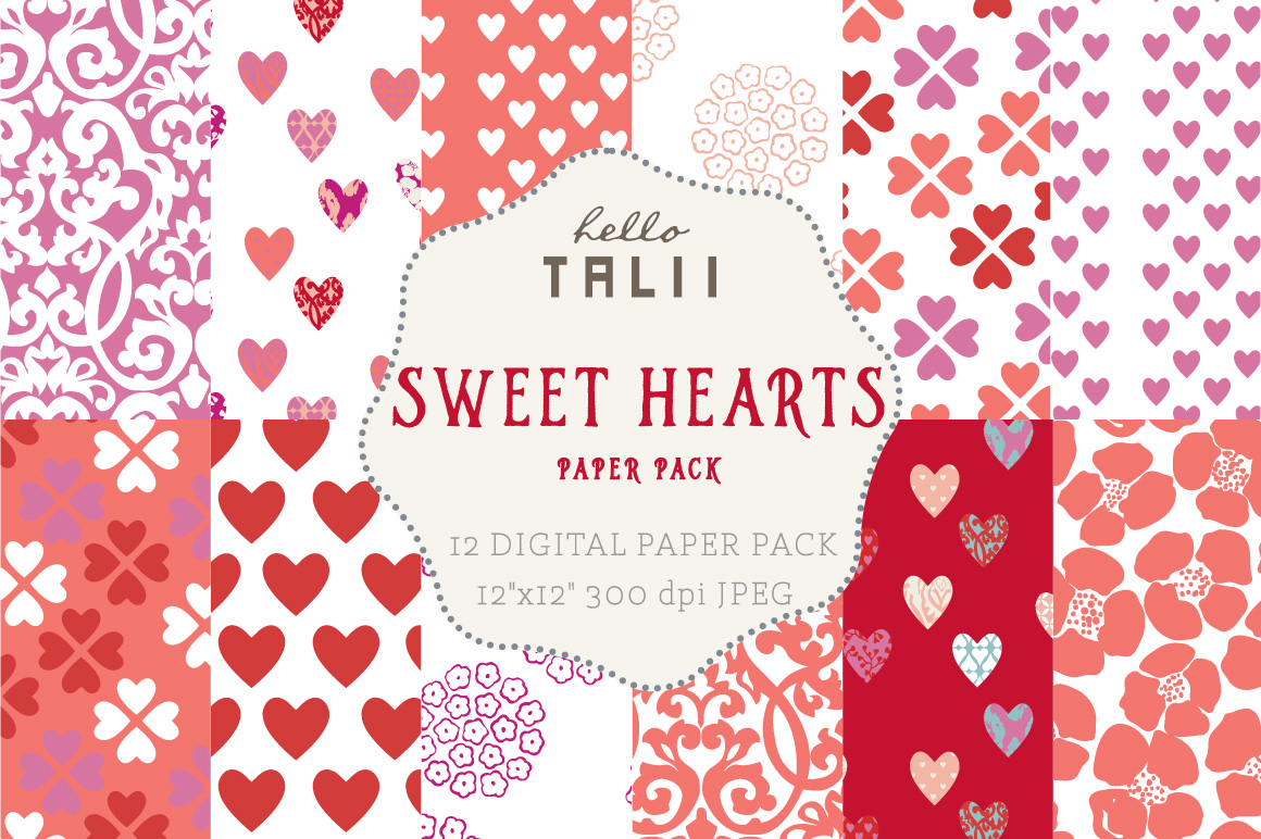 Download Free Sweet Hearts Digital Paper Graphic By Hello Talii Creative Fabrica for Cricut Explore, Silhouette and other cutting machines.