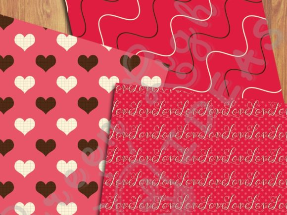 Sweet Valentine Digital Papers Graphic Backgrounds By GreenLightIdeas - Image 3