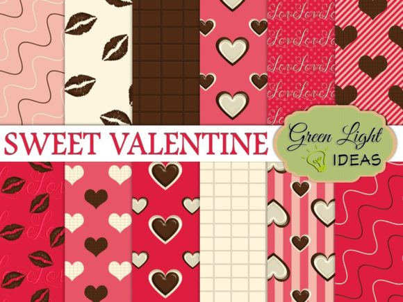 Sweet Valentine Digital Papers Graphic Backgrounds By GreenLightIdeas