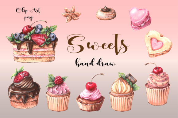 Print on Demand: Sweets Clip Art Graphic Illustrations By nicjulia