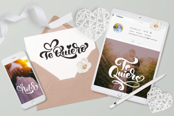 Te Quiero and Amor Valentine Quotes Graphic By Happy Letters Image 5