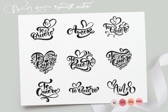 Te Quiero and Amor Valentine Quotes Graphic Crafts By Happy Letters