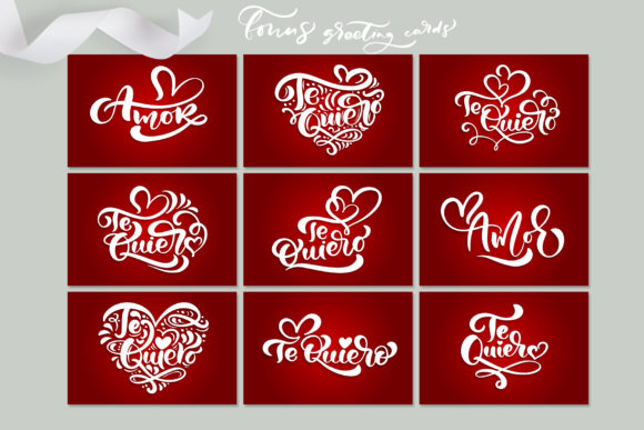 Te Quiero and Amor Valentine Quotes Graphic By Happy Letters Image 8