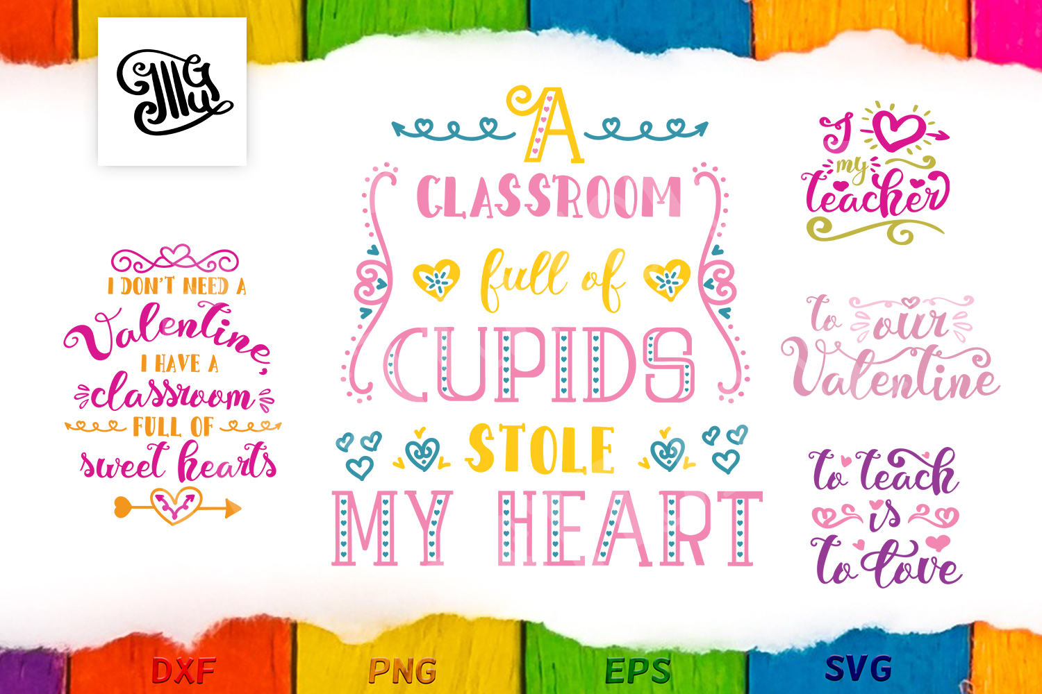 Download Free Teacher Valentine Bundle Graphic By Illustrator Guru Creative for Cricut Explore, Silhouette and other cutting machines.