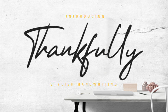 Print on Demand: Thankfully Script Script & Handwritten Font By CreatypeStudio