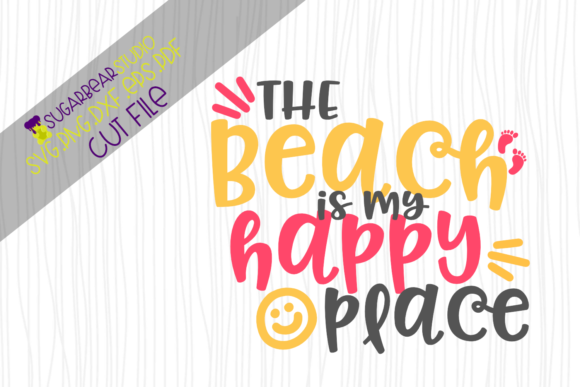 The Beach is My Happy Place SVG Gráfico Crafts Por SugarBearStudio
