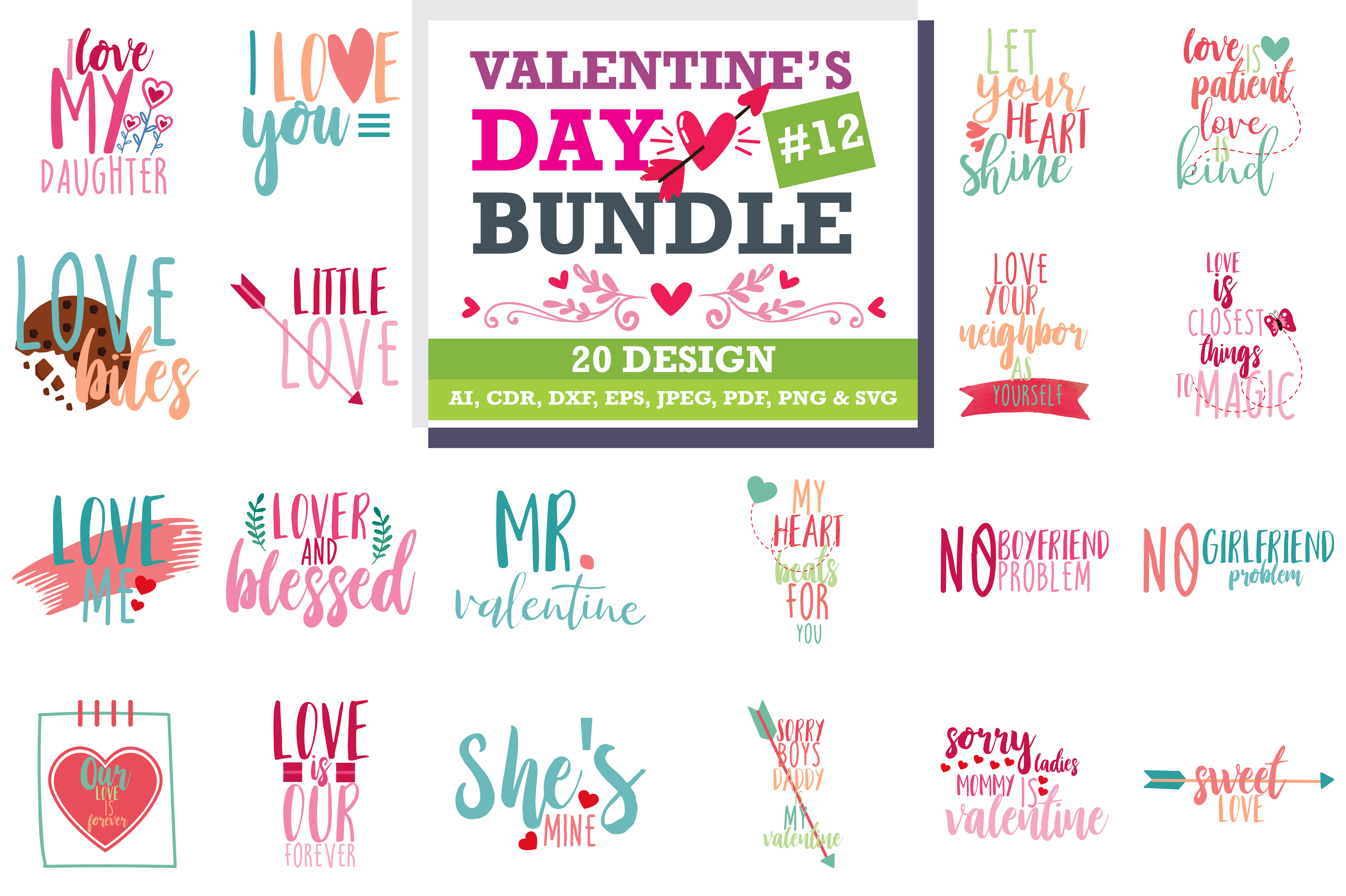 The Lovely Valentine Bundle Graphic By Thelucky Creative Fabrica
