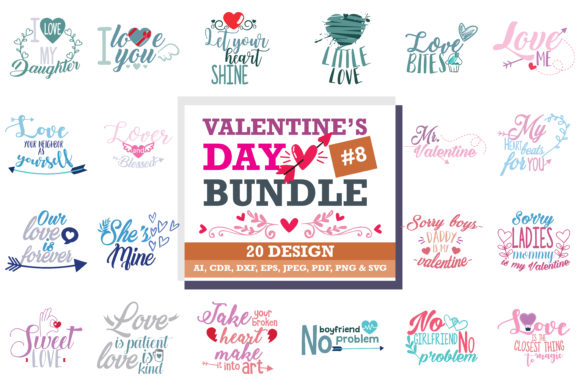 Print on Demand: The Lovely Valentine Bundle Graphic Crafts By TheLucky - Image 1
