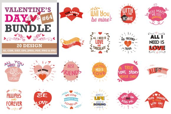 Print on Demand: The Lovely Valentine Bundle Graphic Crafts By TheLucky
