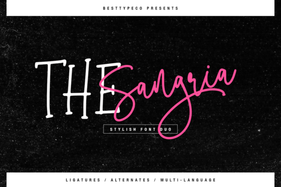 Print on Demand: The Sangria Duo Script & Handwritten Font By besttypeco