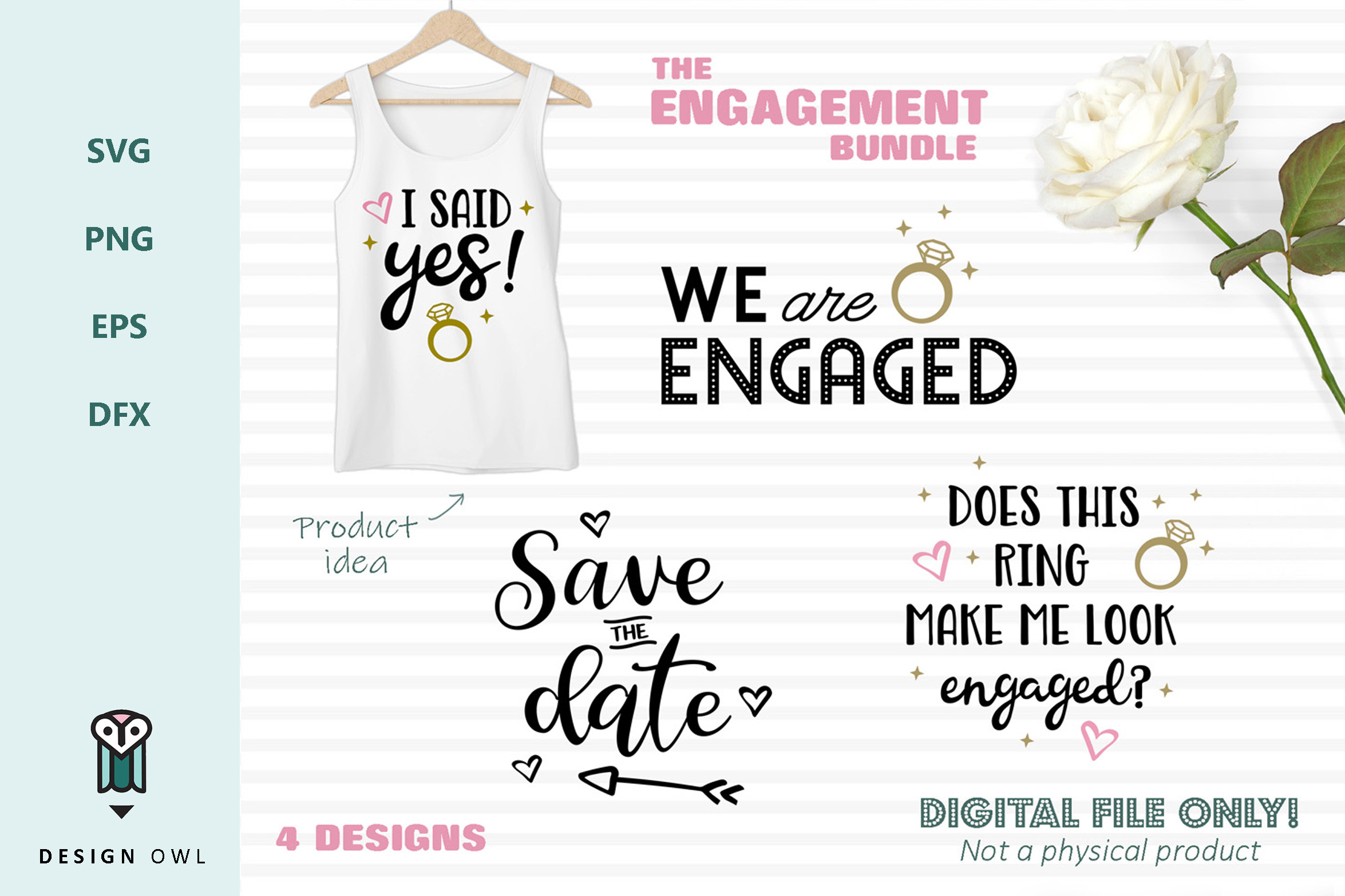 Download Free The Engagement Bundle Graphic By Design Owl Creative Fabrica for Cricut Explore, Silhouette and other cutting machines.