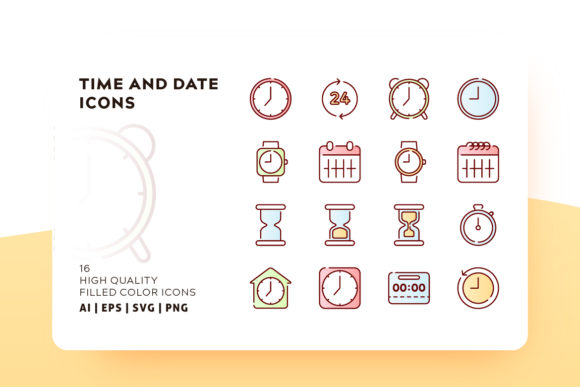 Print on Demand: Time Filled Color Icon Pack Graphic Icons By Goodware.Std