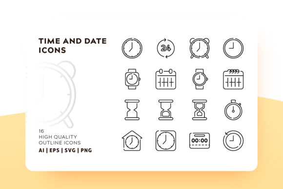Print on Demand: Time Outline Icon Pack Graphic Icons By Goodware.Std