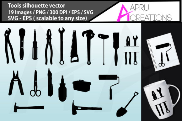Print on Demand: Tools Icon Silhouette Graphic Illustrations By aparnastjp