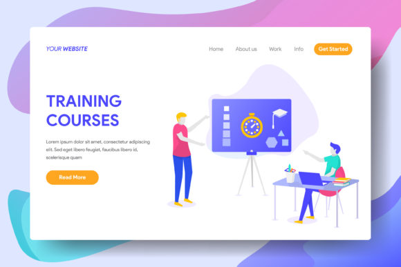 Training Courses Graphic Landing Page Templates By Twiri