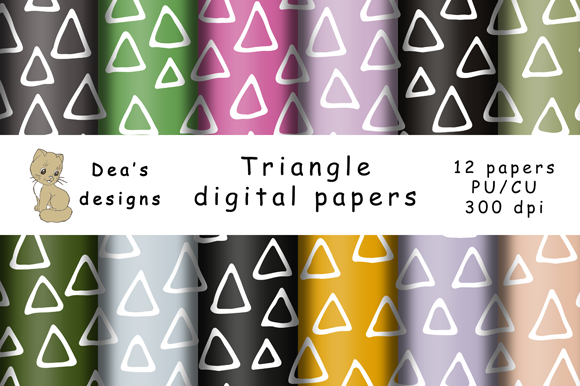 Print on Demand: Triangle Digital Papers Graphic Patterns By Andrea Kostelic