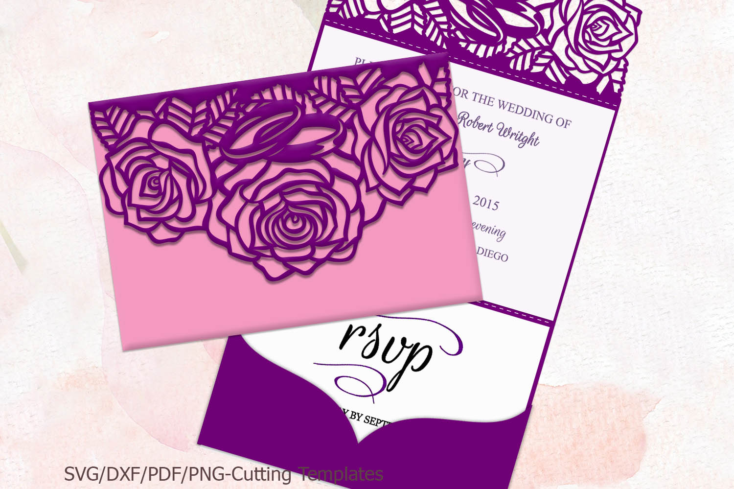 Download Free Trifold Wedding Invitation Graphic By Cornelia Creative Fabrica for Cricut Explore, Silhouette and other cutting machines.