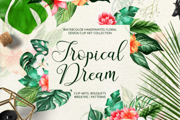 Tropical Dream-watercolor Set Graphic Illustrations By tregubova.jul