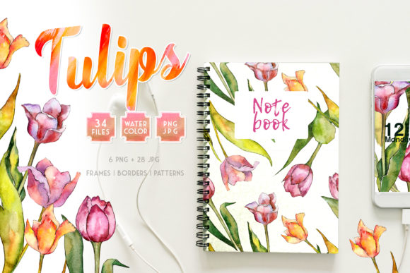 Print on Demand: Tulips for Love  Watercolor Png Graphic Illustrations By MyStocks