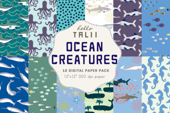 Under the Sea Digital Paper Graphic Patterns By Hello Talii