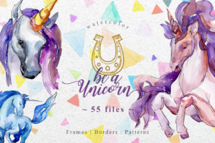 Download Free Unicorn Violet Watercolor Graphic By Mystocks Creative Fabrica for Cricut Explore, Silhouette and other cutting machines.