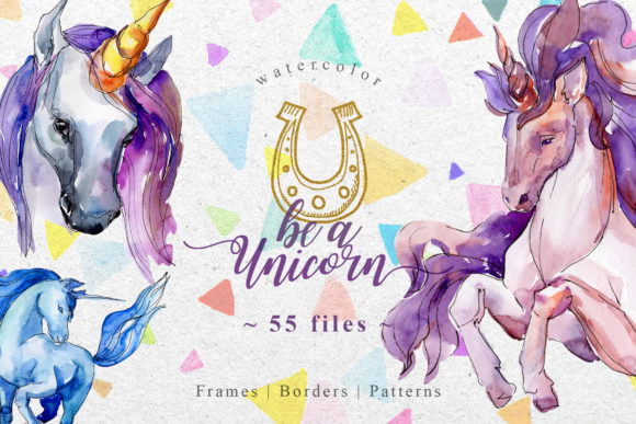 Print on Demand: Unicorn Violet Watercolor Graphic Illustrations By MyStocks