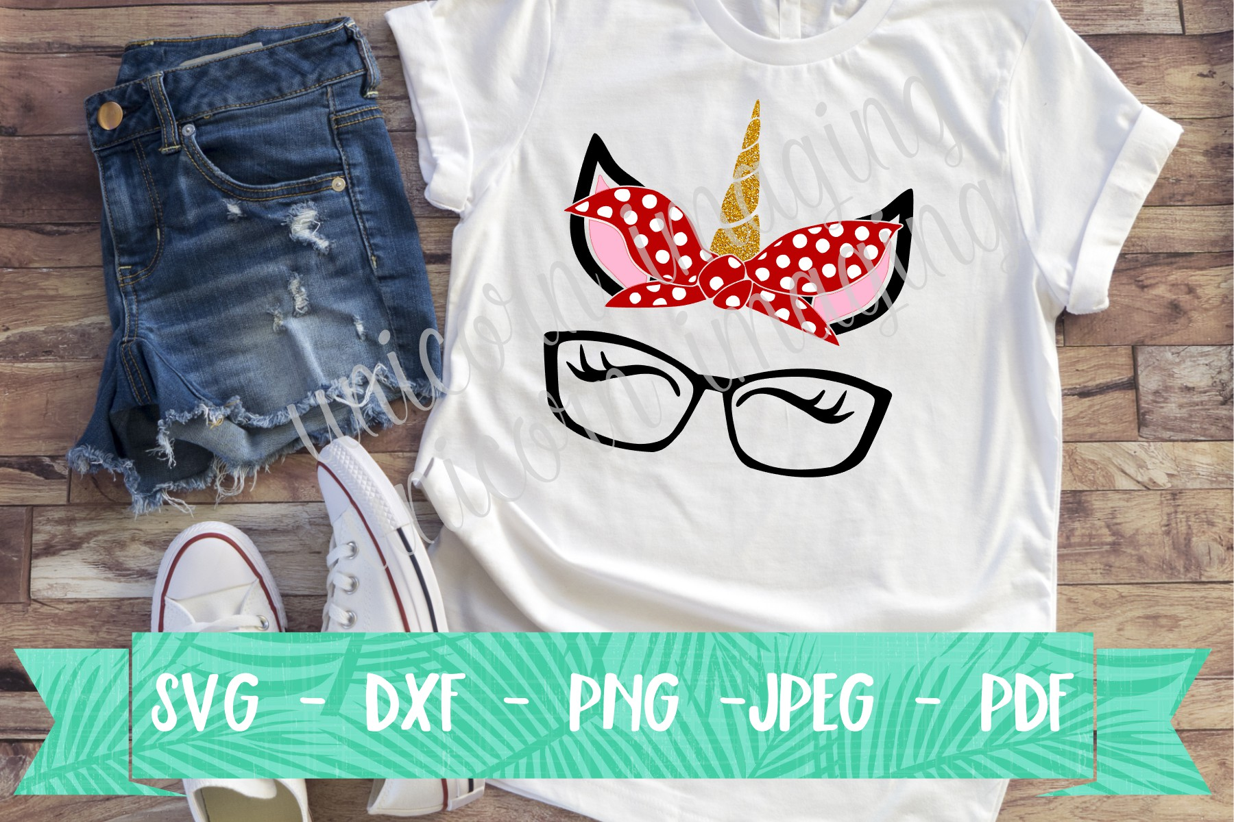 Download Free Unicorn With Bandana And Glasses Graphic By Unicorn Imaging for Cricut Explore, Silhouette and other cutting machines.