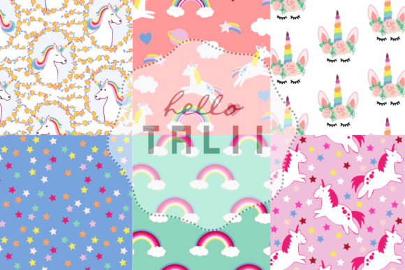 Download Free Unicorns Rainbows Digital Paper Grafico Por Hello Talii for Cricut Explore, Silhouette and other cutting machines.