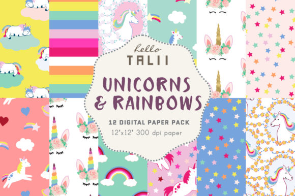 Unicorns & Rainbows Digital Paper Graphic Patterns By Hello Talii